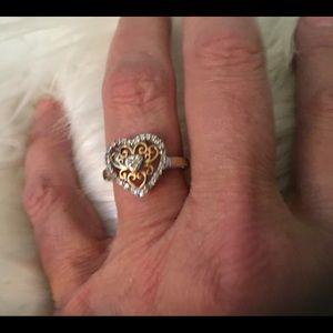 Jewelry - 14K & Sterling Silver Diamond Heart Ring! 7
